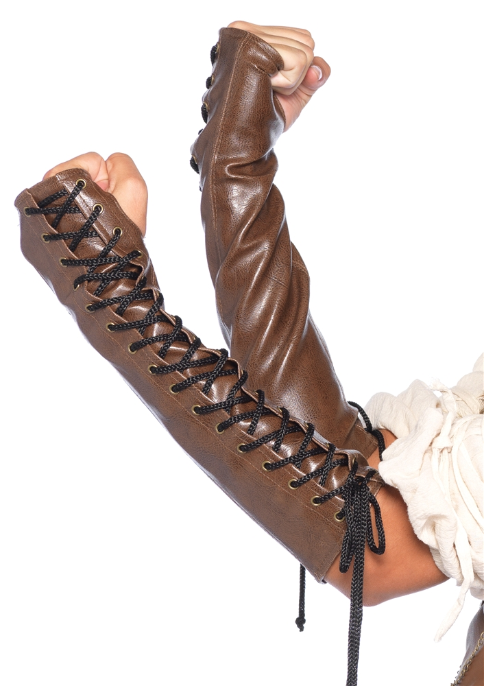 Faux Leather Lace-Up Arm Warmers
