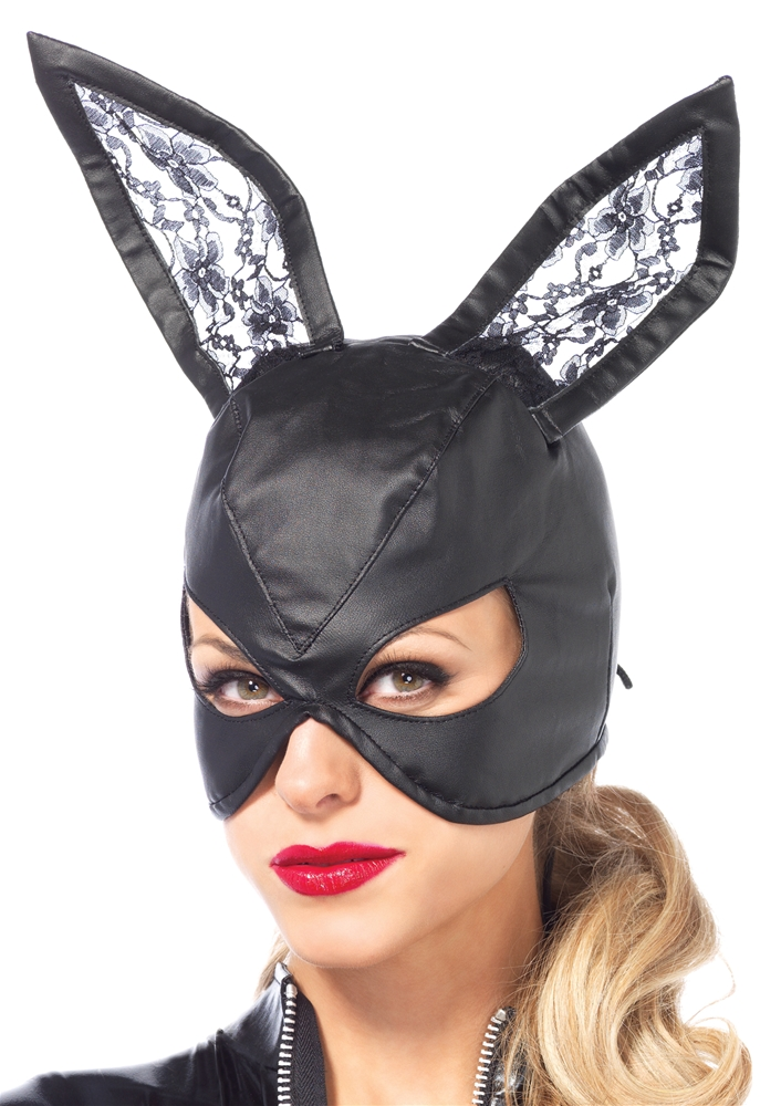 Faux Leather Bunny Mask