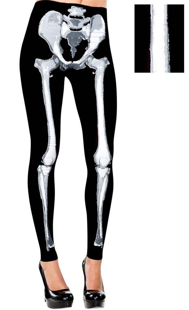 Skeleton Adult Footless Tights