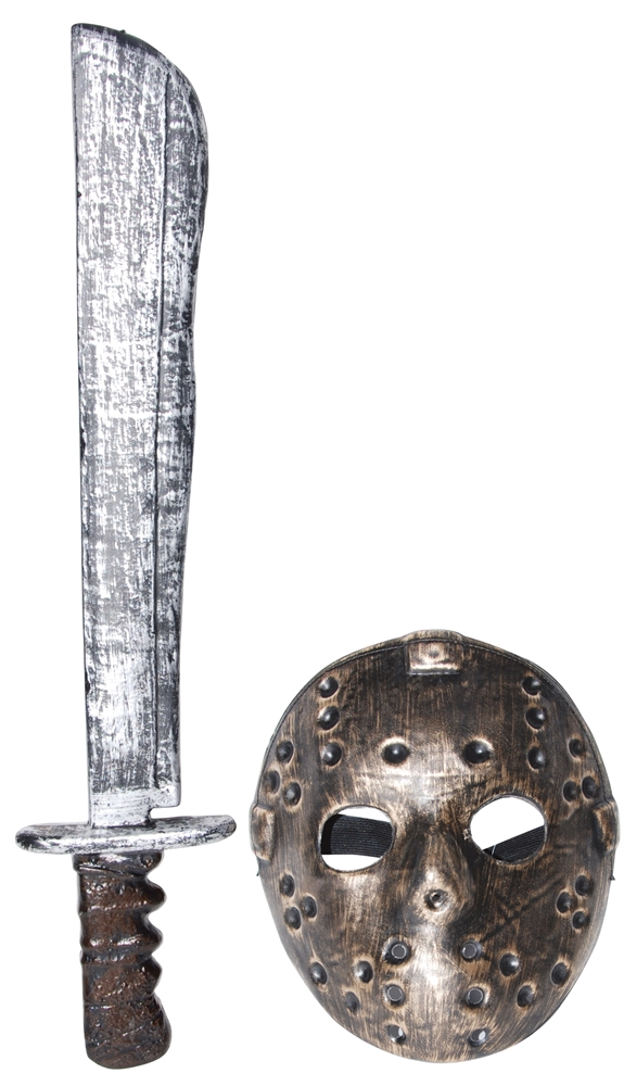 Distressed Hockey Mask & Machete Set