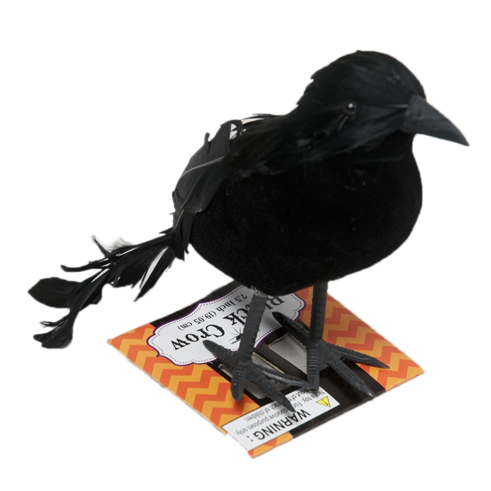 Flocked Black Crow