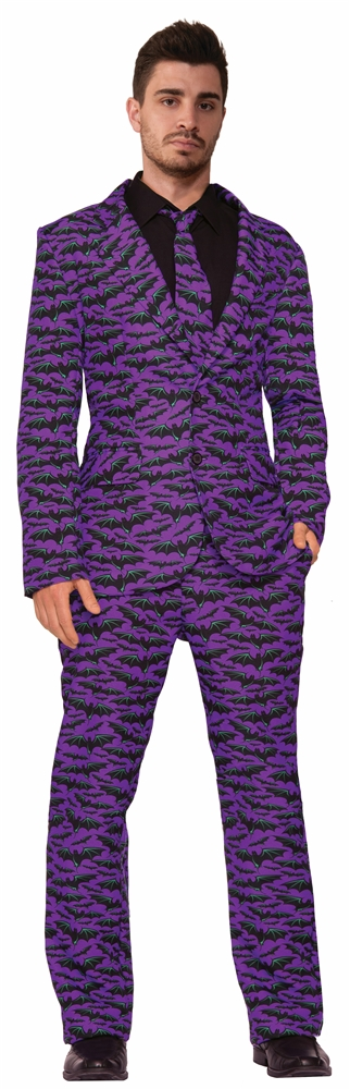 Purple Bat Adult Mens Suit & Tie