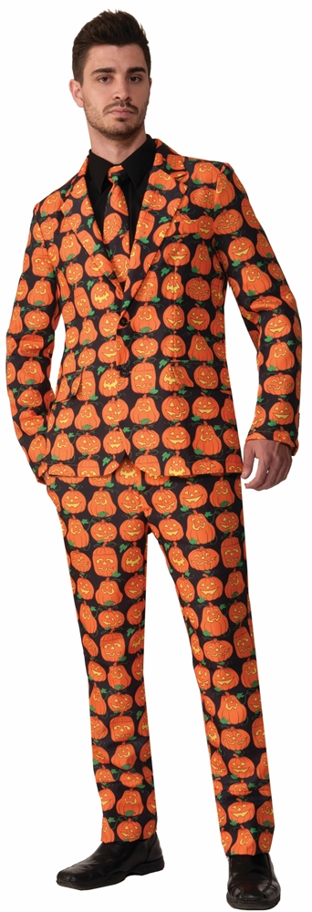 Orange Pumpkin Adult Mens Suit & Tie