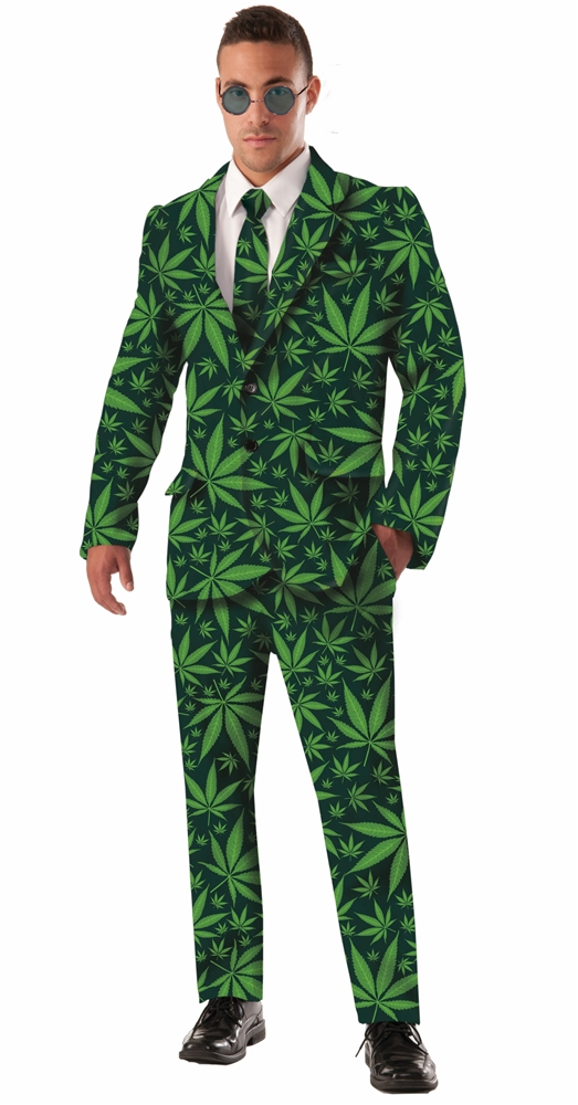 Cannabis Joint Venture Adult Mens Suit & Tie