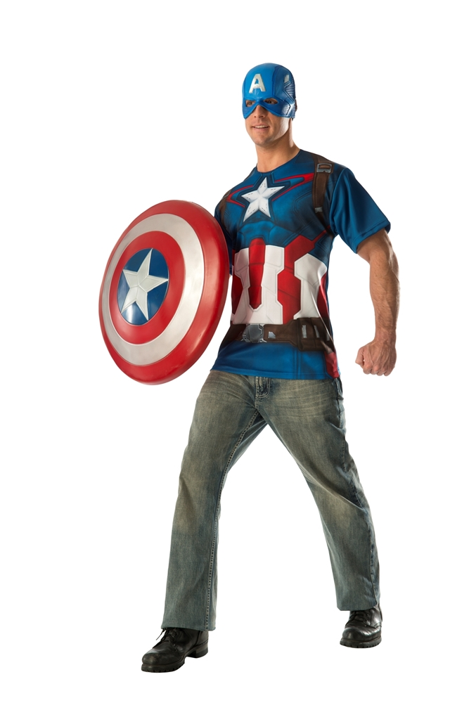 Avengers 2: Age of Ultron Captain America Adult Mens T-Shirt & Mask