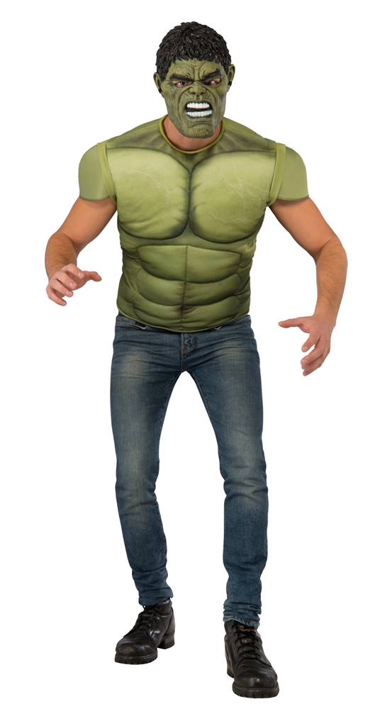 Avengers 2: Age of Ultron Hulk Adult Mens Muscle Shirt & Mask
