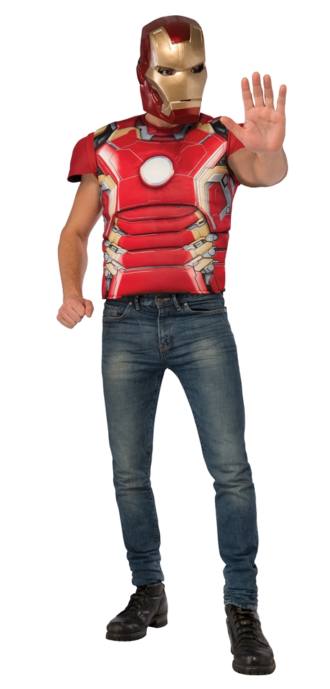 Avengers 2: Age of Ultron Iron Man Adult Mens Muscle Shirt & Mask