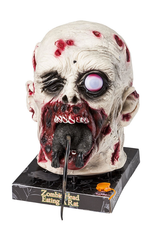 Zombie Head Eating Rat Animated Prop
