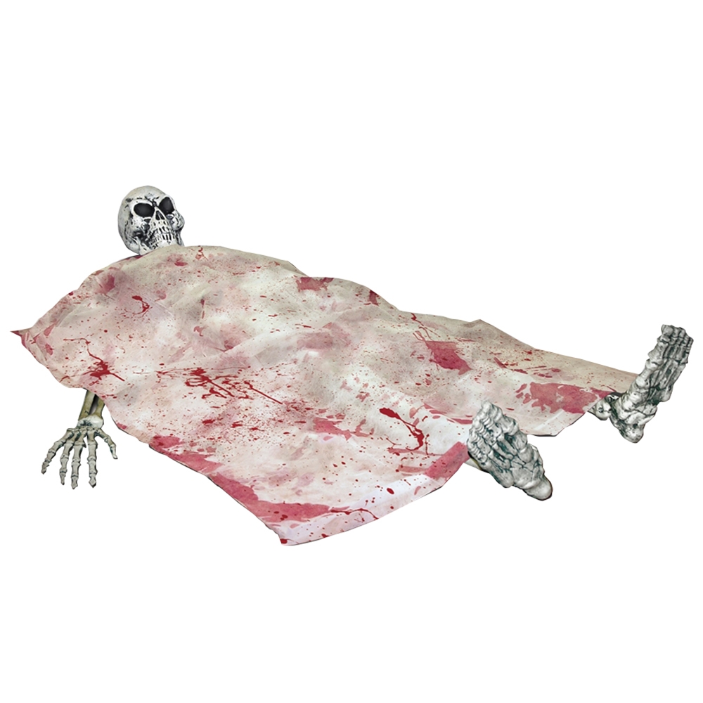 Bloody Death Bed Skeleton Prop