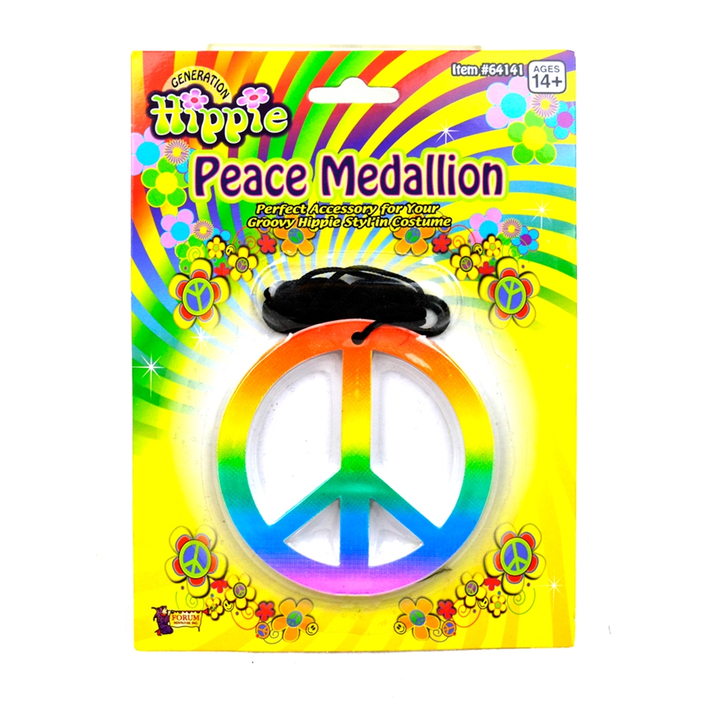 Hippie Rainbow Peace Sign Medallion Necklace by Forum Novelties