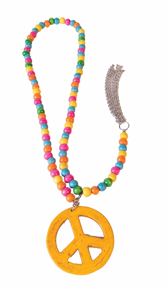 Hippie Peace Sign Wood Necklace by Forum Novelties