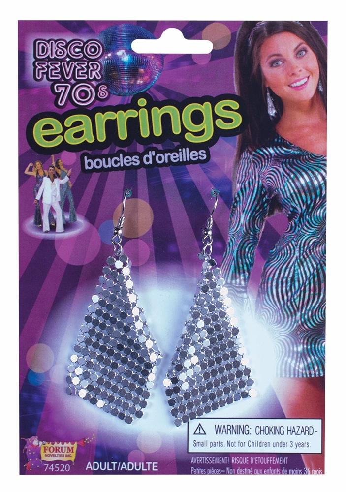 Disco Drop Silver Earrings by Forum Novelties