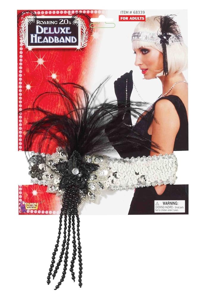 Flapper Deluxe Silver & Black Headband