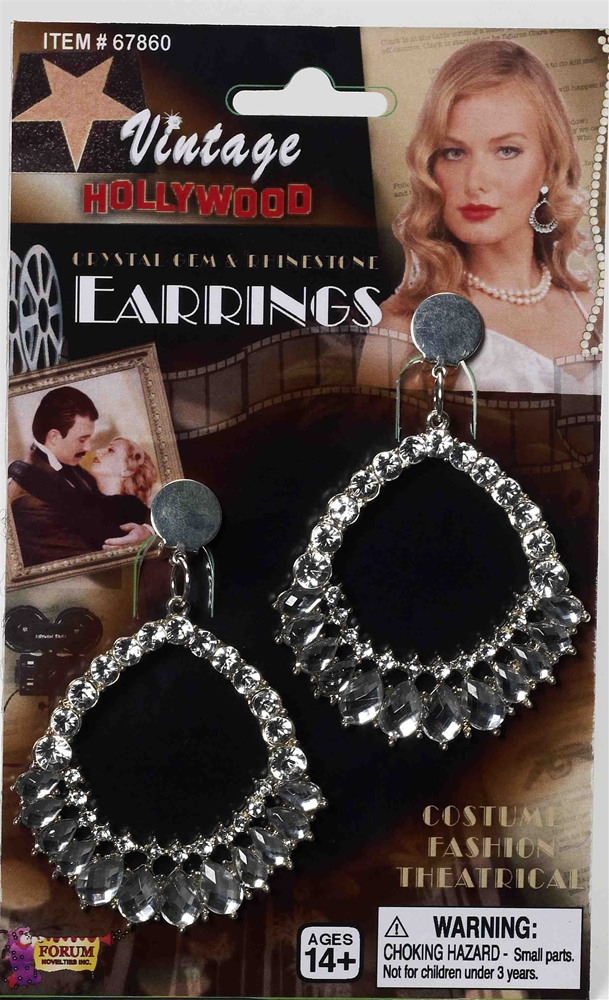 Vintage Hollywood Rhinestone & Crystal Earrings