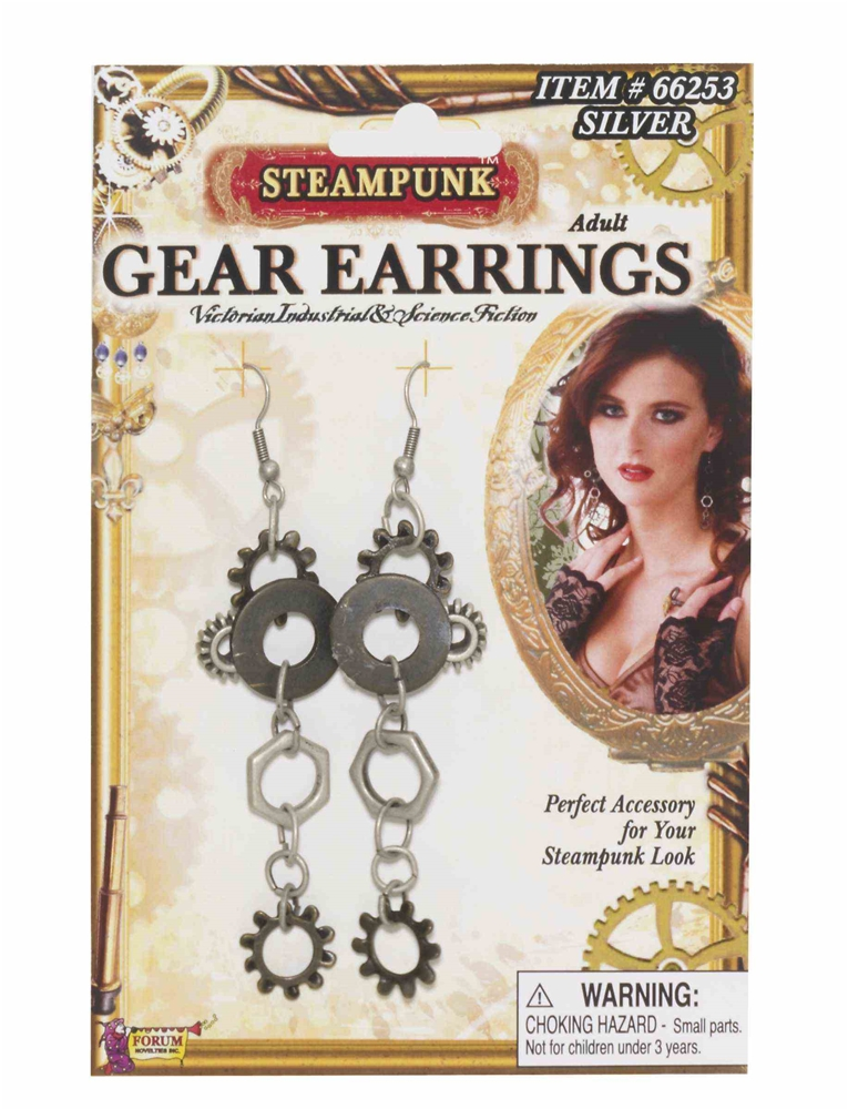 Steampunk Silver Gear Earrings