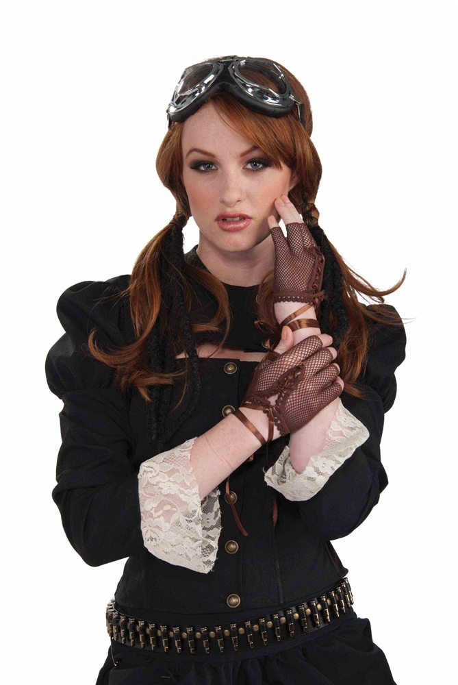 Steampunk Fingerless Brown Gloves