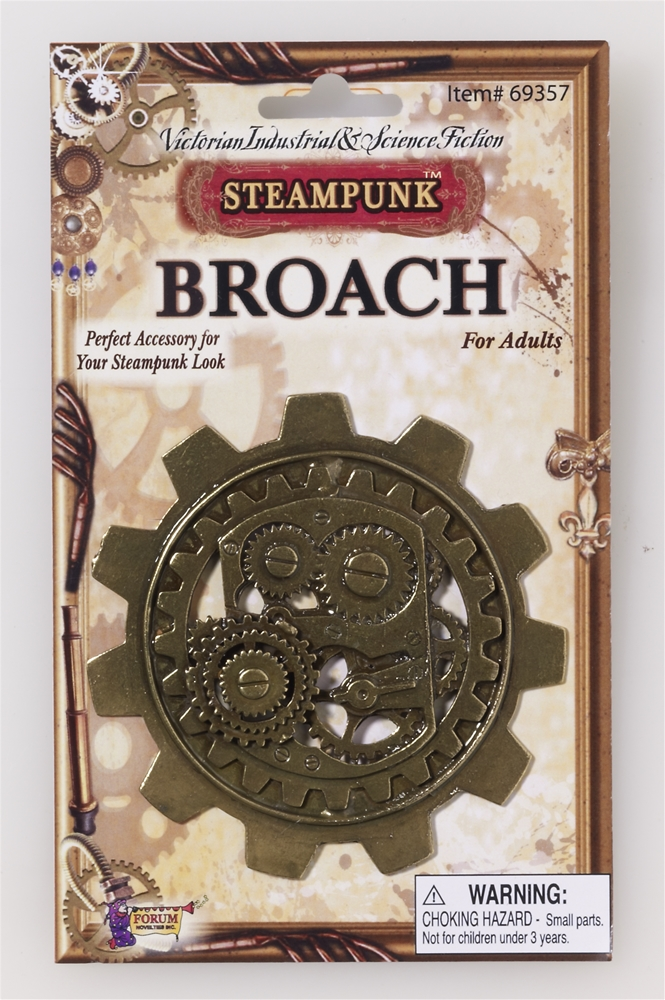 Steampunk Large Bronze Gear Broach