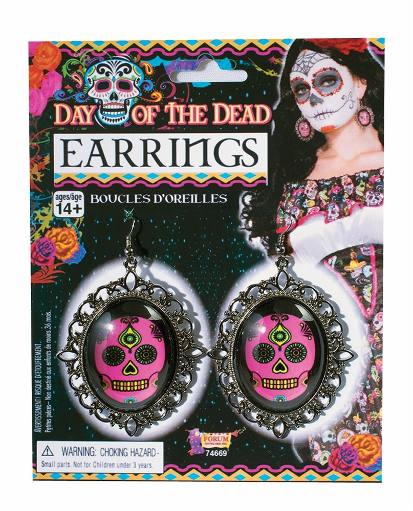Day of the Dead Skull Cameo Earrings by Forum Novelties