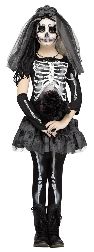 Dark Skeleton Bride Child Costume