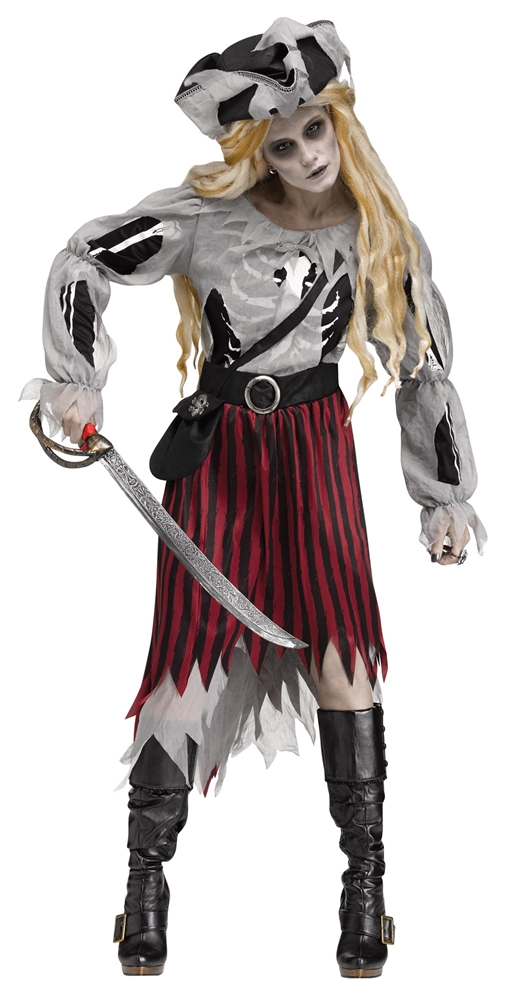 Zombie Pirate Queen Adult Womens Costume (Zombie Costumes Women)