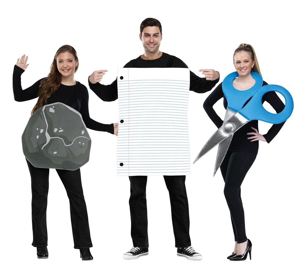 [Rock, Paper, Scissors Adult Costume Set] (Scissors Paper Rock Costume)