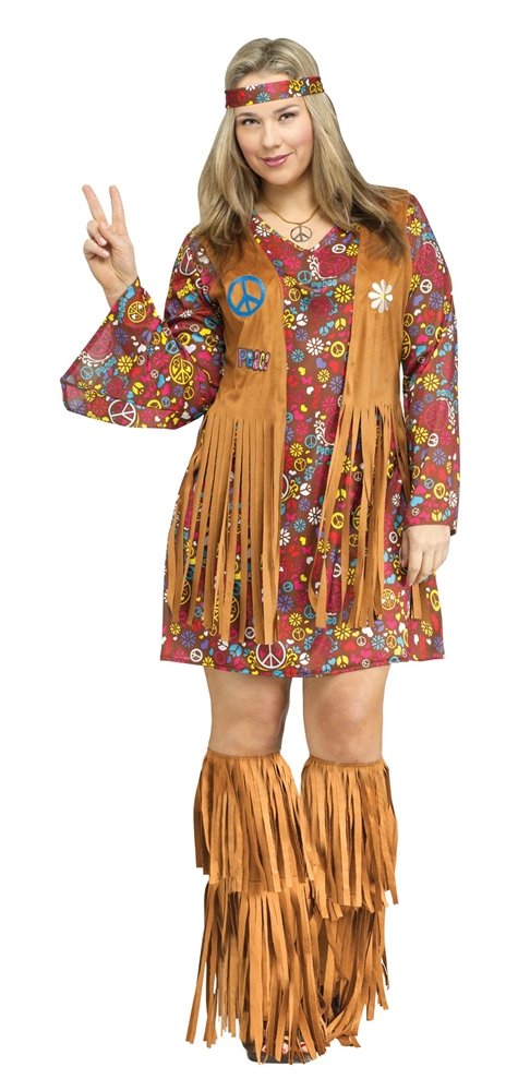 Peace & Love Hippie Adult Womens Plus Size Costume 123455