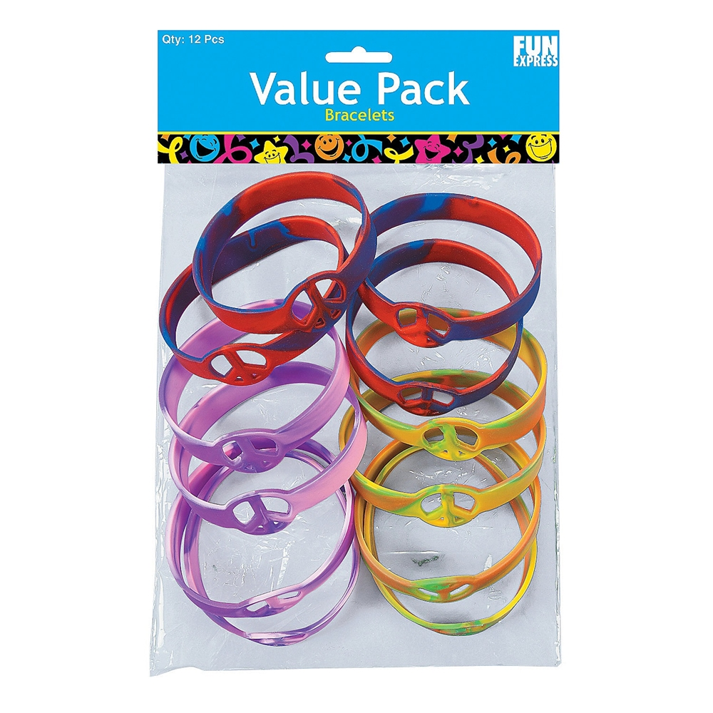 Rubber Tie-Dyed Peace Sign Bracelets 12ct by Fun Express/Oriental Trading