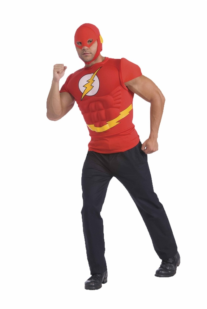 The Flash Adult Mens Muscle Shirt & Mask