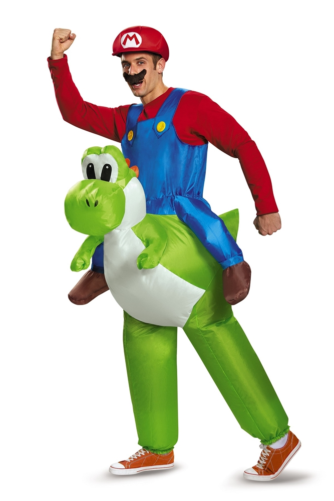 Super Mario Brothers Mario Riding Yoshi Inflatable Adult Mens Costume