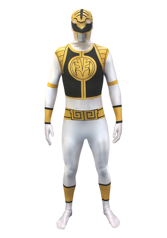 [White Power Ranger Morphsuit Adult Unisex Costume] (White Ranger Adult Costumes)