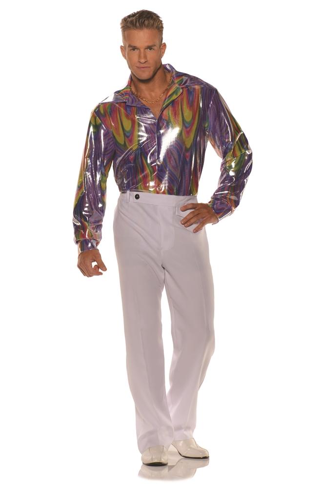 groovy metallic disco mens plus size shirt 355880