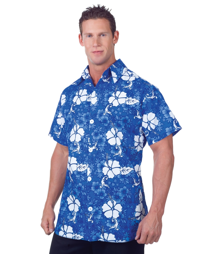 Blue Hawaiian Aloha Adult Mens Plus Size Shirt