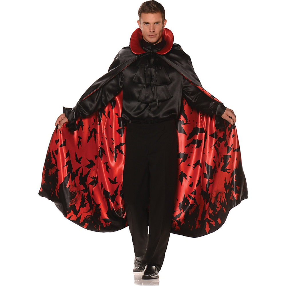Satin Inner Bat Print Adult Cape