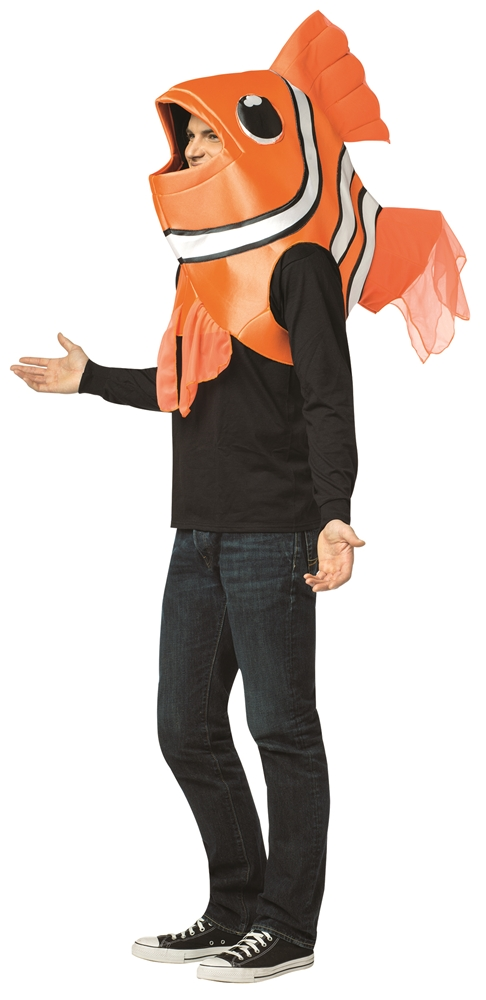 Clown fish over the head adult unisex costume 356834 for Fish head costume