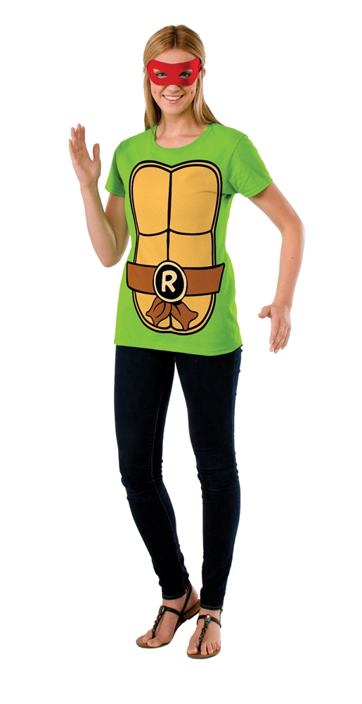 TMNT Raphael Adult Womens T-Shirt & Mask Set