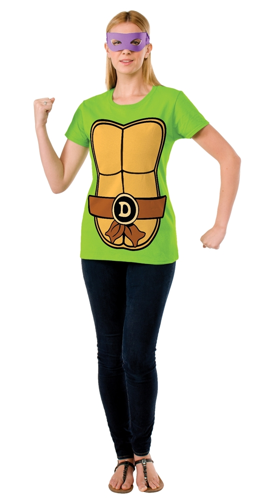 TMNT Donatello Adult Womens T-Shirt & Mask Set