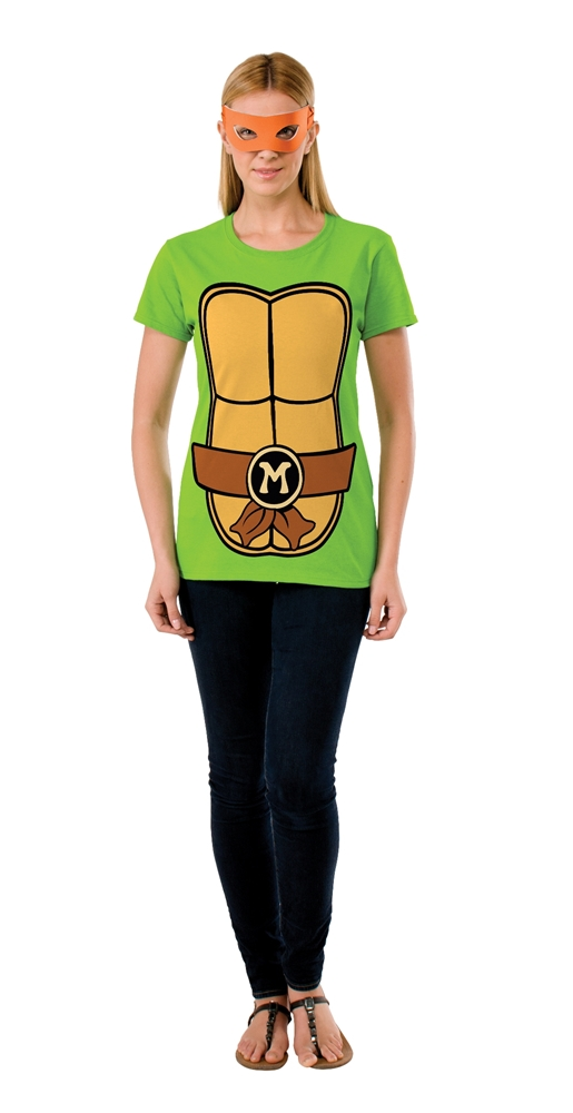 TMNT Michelangelo Adult Womens T-Shirt & Mask Set