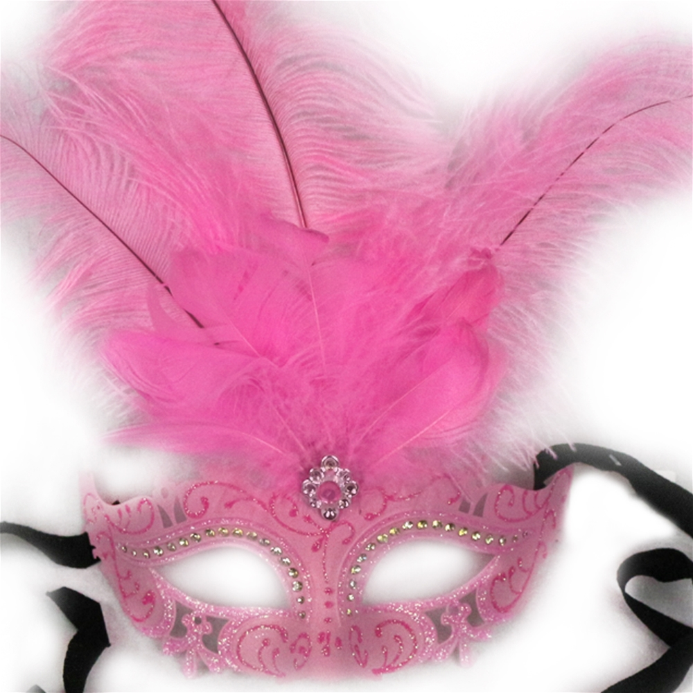 Pink Venetian Masquerade Mask with Feathers (Feathered Masquerade Mask)