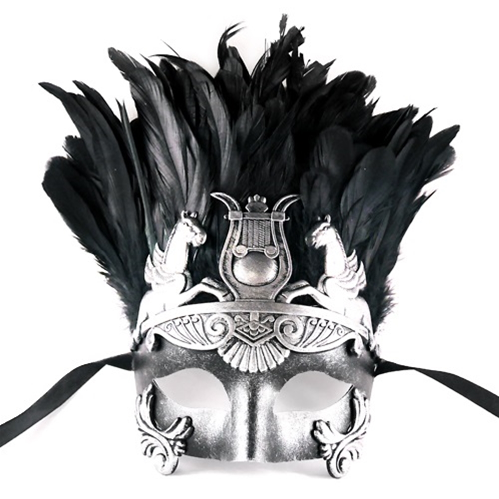Hercules Masquerade Mask with Feathers (More Colors) (Feathered Masquerade Mask)