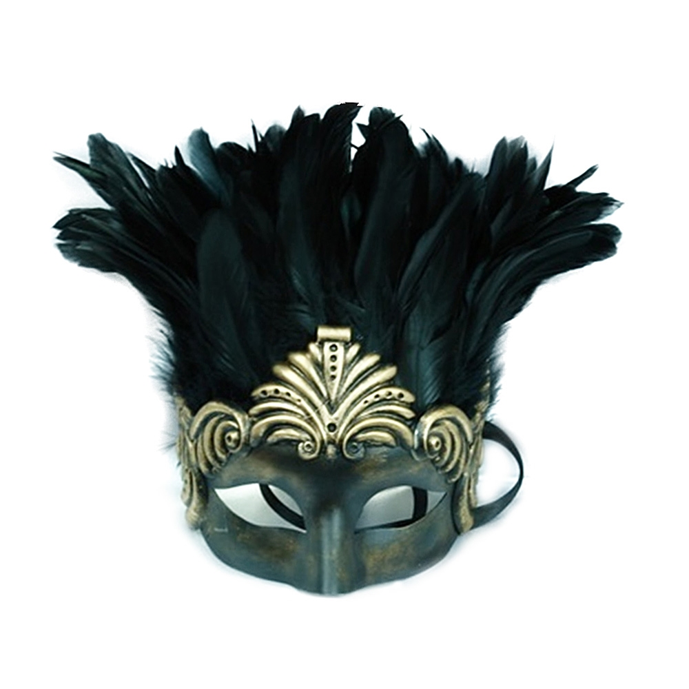Venetian Prince Masquerade Mask with Feathers (More Colors) (Feathered Masquerade Mask)