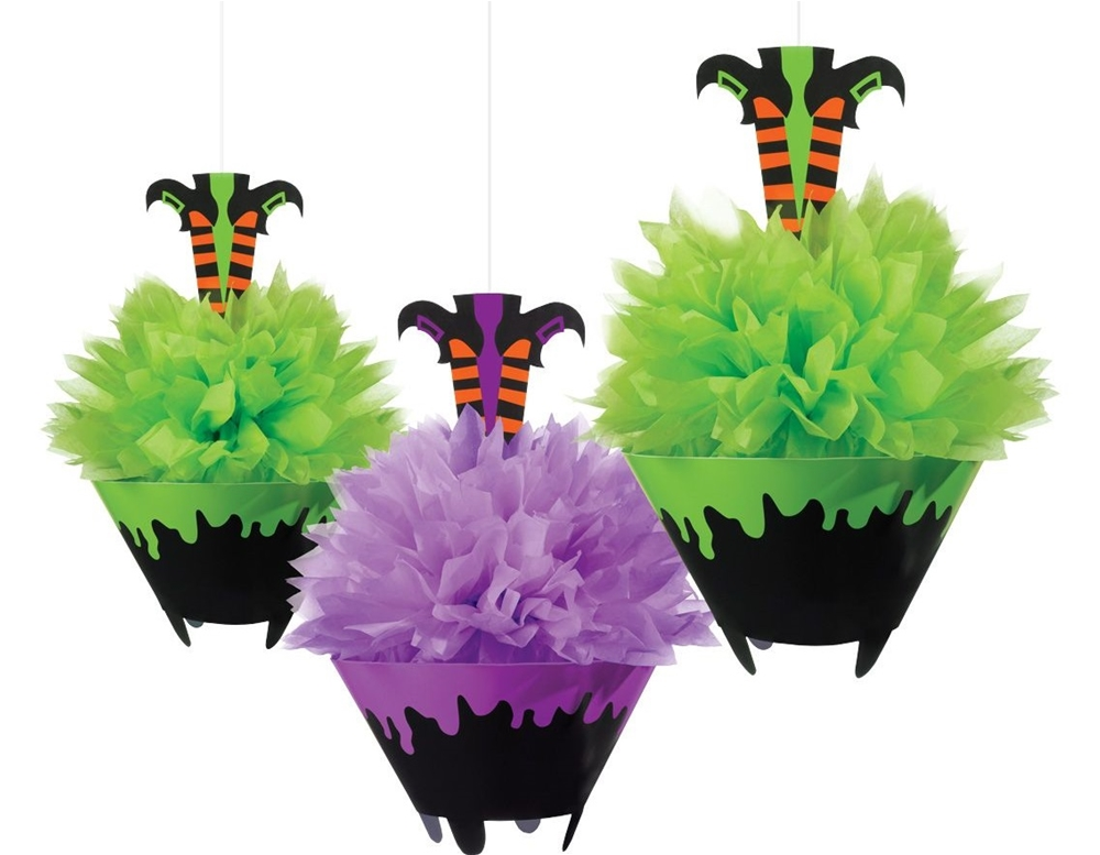 Witches' Crew Green & Purple Fluffy Decorations 3ct