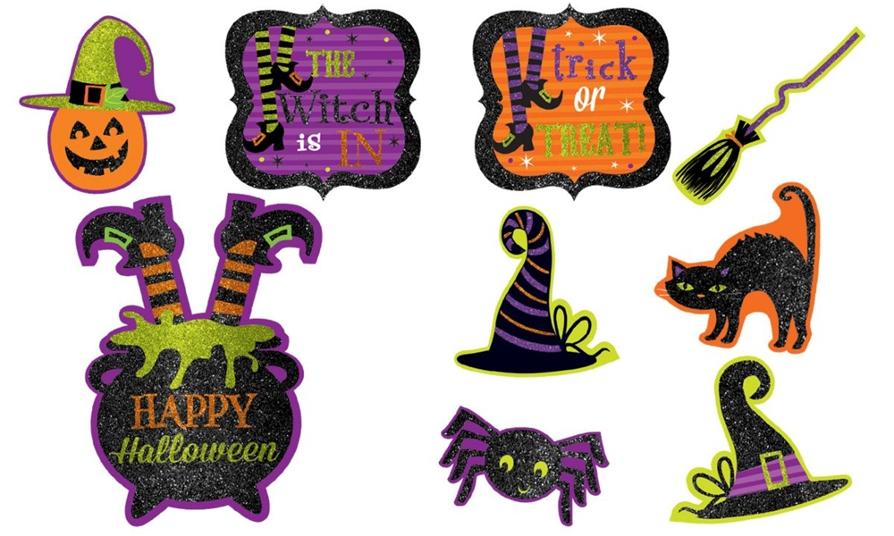 [Witches' Crew Glitter Cutouts Pack] (Witch Cutouts)