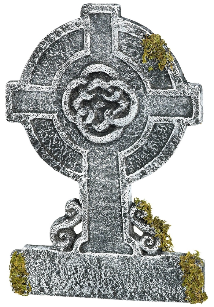 Mossy Celtic Cross Tombstone 22in