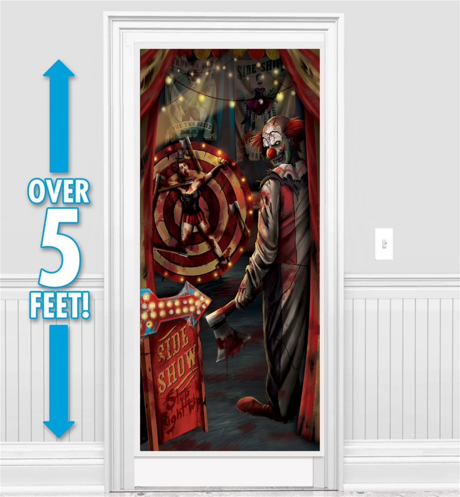 Creepy carnival sideshow door decoration 359812 for Idee decoration porte halloween