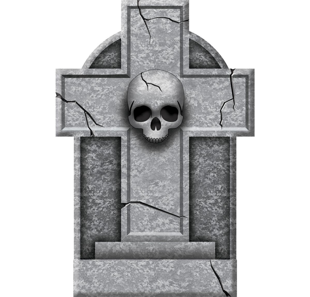 Skull Cross Tombstone 12in