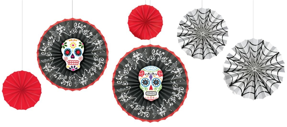 Day of the Dead Paper Fan Decorations 6ct