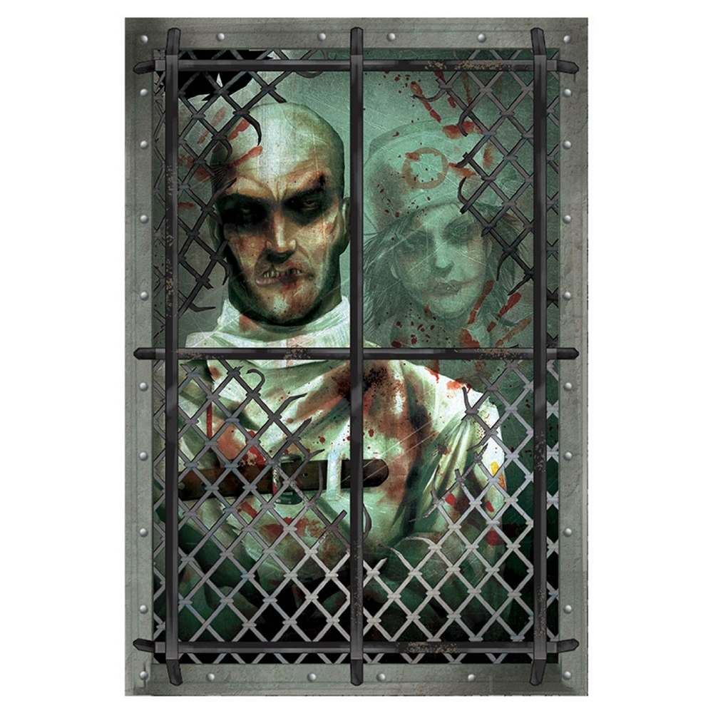 Asylum straitjacket inmate wall grabber 359847 for Decoration porte halloween