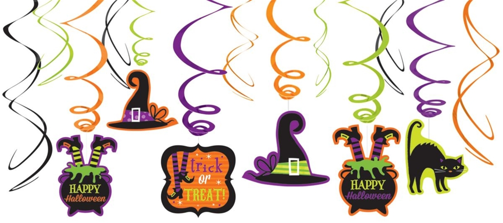 Witches' Crew Foil Swirl Decorations