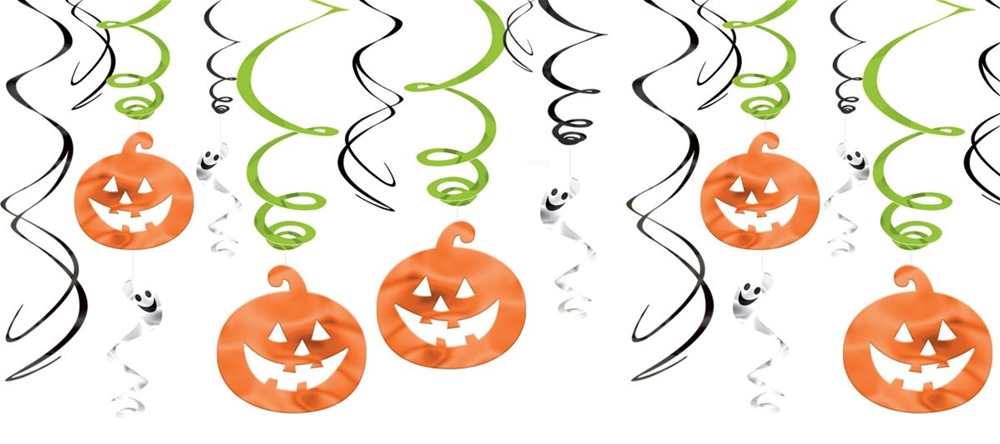 Family Friendly Halloween Pumpkins & Ghosts Foil Swirls by Amscan