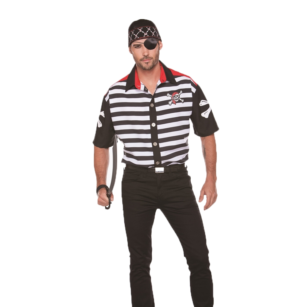 Striped Pirate Adult Mens Shirt